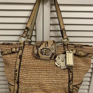 coach straw bag python preowned strap drop 10""